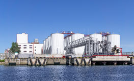 Oil loading terminal in port stock photo