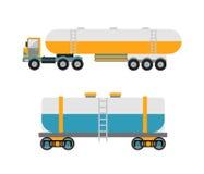 Oil logistic petroleum transportation, tank car, tanker metal barrel flat vector illustration. Royalty Free Stock Photo