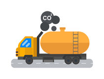 Oil logistic petroleum transportation tank car vector illustration. Royalty Free Stock Images