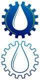 Oil logo. Isolated illustrated oil drop in gear wheel logo design Stock Photo