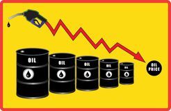 Oil loss of price or falling price oil illustration Stock Photography