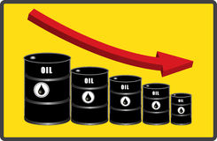 Oil loss of price or falling price oil illustration Royalty Free Stock Photo