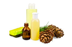Oil with lotion and cedar cones Royalty Free Stock Image