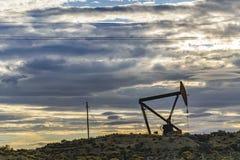 Oil Machine at Patagonian Landscape, Santa Cruz ,Argentina stock photography
