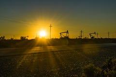 Oil Machine at Patagonian Landscape, Santa Cruz ,Argentina stock photo