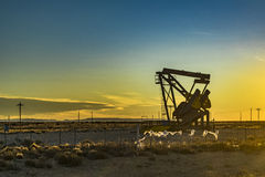 Oil Machine at Patagonian Landscape, Santa Cruz ,Argentina royalty free stock images