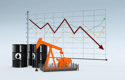 Oil market. Oil barrels and a pumpjack with a chart on background (3d render Royalty Free Stock Images
