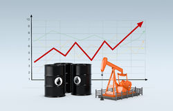 Oil market. Oil barrels and a pumpjack with a chart on background (3d render Stock Photos