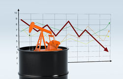 Oil market. One oil barrel and a pumpjack with a chart on background (3d render Stock Photos