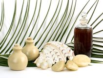 Oil massage and aromatherapy. Objects for massage and aromatherapy on white background stock photos