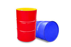 Oil metal barrel isolated on white. Royalty Free Stock Images