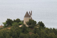 Oil mill along Étang de Berre near Martigues, France Stock Image