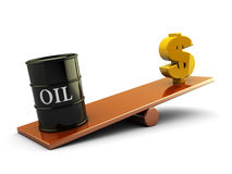 Oil and money. 3d illustration of oil barrel and money sign on scale board vector illustration