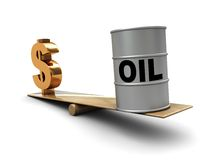 Oil and money. Abstract 3d illustration of dollar sign and oil barrel on scale, oil prices concept stock illustration