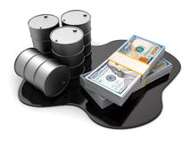 Oil and money. 3d illustration of oil barrels and dollars stack Stock Image