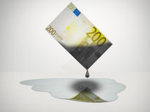 Oil Money. Oil Drips from 200 Euro Note Royalty Free Stock Photos