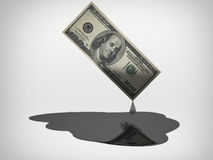 Oil Money. Oil drips from US 100 Dollar Bill Stock Image