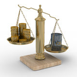 Oil and money for scales Royalty Free Stock Image