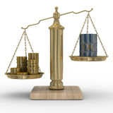 Oil and money for scales Stock Photos