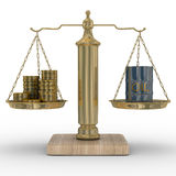 Oil and money for scales Royalty Free Stock Images