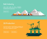 Oil Offshore Platform and salt production, vector Stock Photography