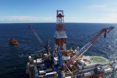 Oil offshore platform in the sea. Extraction of oil on the shelf stock photography