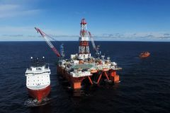 Oil offshore platform in the sea. Extraction of oil on the shelf stock images