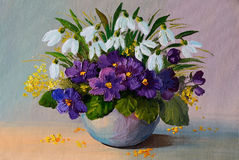 Oil oil painting flowers - still life, a bouquet of flowers Stock Images