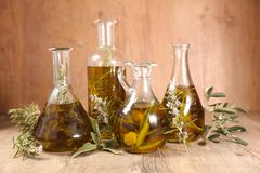 Oil olive bottle with branch. Differents sort of oil olive bottle with branch stock image