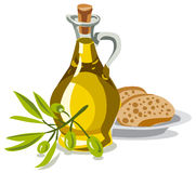 Oil olive with bread. Illustration of oil olive with bread and fresh olives royalty free illustration