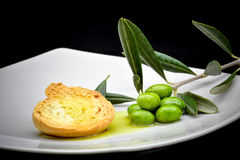 Oil and olive composition Royalty Free Stock Photos