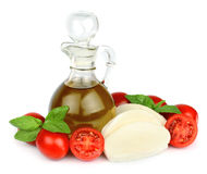 Oil olive with mozzarella cheese with tomatoes. Mozzarella cheese with tomatoes,basil and oil olive stock images