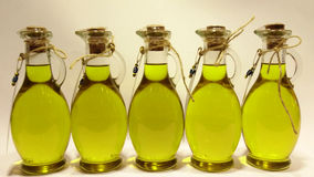 Oil. Olives and Pouring Olive Oil Royalty Free Stock Images
