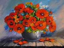 Oil painding - a bouquet of poppies in a vase on a wooden table Royalty Free Stock Image