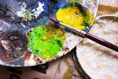 Oil paint. S on a tray Royalty Free Stock Photography