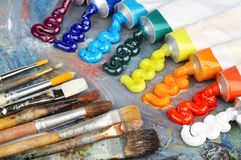 Oil paint and brushes Royalty Free Stock Image