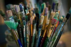 Oil paint brushes Stock Photography