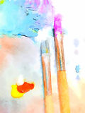 Oil paint brushes. Brushes and oil paint on a canvas Royalty Free Stock Photography