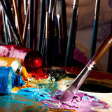 Oil Paint and Brusshes Stock Photos