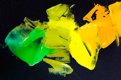 Oil paint color palette. Yellow, green, orange royalty free stock images