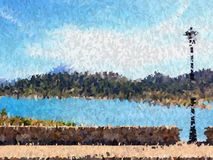 Oil paint and landscape royalty free illustration