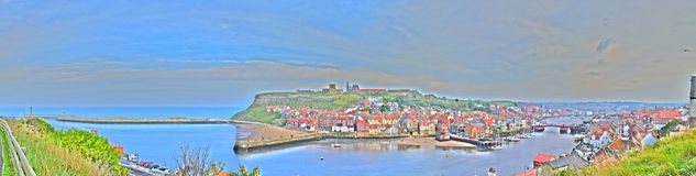 Oil-paint effect of Whitby Town and Harbor, North Yorkshire, UK stock images