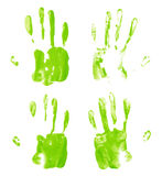 Oil paint hand palm prints Royalty Free Stock Photography