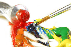 Oil paint mixing Stock Photography