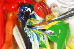 Oil paint mixing Royalty Free Stock Photos