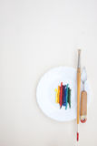 Oil paint with painting instruments Royalty Free Stock Photos