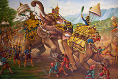 Oil paint of thailand history Royalty Free Stock Photo