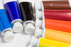 Oil paint tubes Stock Images