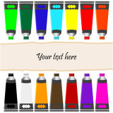 Oil paint tubes and banner. Royalty Free Stock Photos
