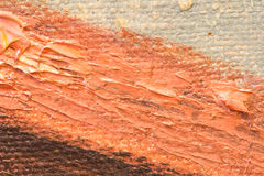 Oil painted background. Detail of oil painted canvas with brown, red and white stripes Stock Images